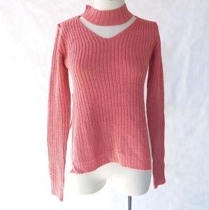 Dusty Cedar Cut Out Pullover Sweater Side Slit XS